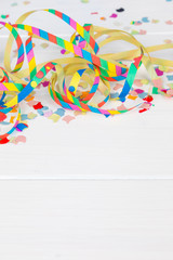 carnival party background with confetti frame