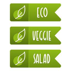 Wall Mural - Eco, veggie and salad vegan banner set. Eps10 Vector.