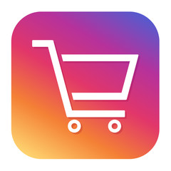 Shopping cart icon with hipster button. Shopping button. Sale symbol.