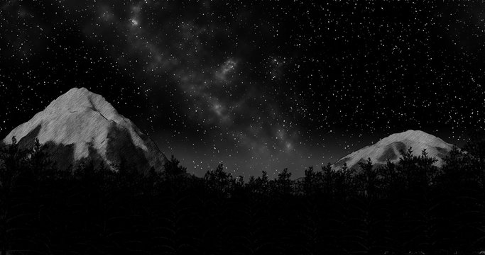 night winter forest sky and mountains background 3d illustration render