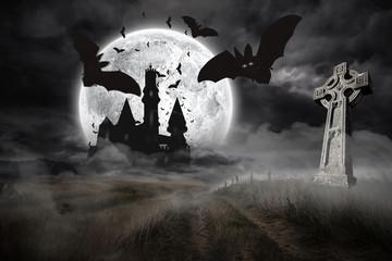 Bats flying from draculas castle