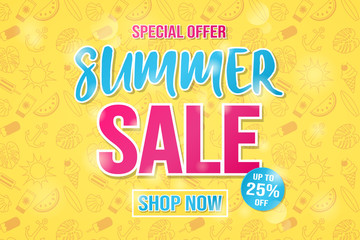 Vibrant coloured poster for Summer Sale. Vector.