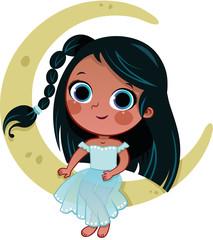 Cartoon Girl Character Sitting on the Moon (Vector illustration)