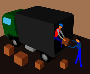 Two workers load the truck with cargo.
