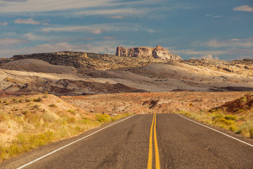 Spectacular landscapes at the entrance to Goblin valley state park in Utah, USA