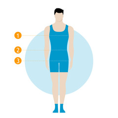 Male body measurement chart. Figure of the guy, model in underwear, swimwear.  Template for sewing, fitness, work out, healthy lifestyle or shop.