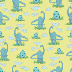 Herbivorous dinosaur and egg in the grass on a yellow background. Seamless pattern.  Hand-drawn DIPODOK. Vector illustration. Design for children's textiles, background image for packaging materials.