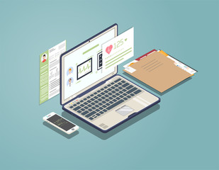 Isometric laptop with software for medicine and healthcare. Phone and folder with documents. Doctor and patient consultation and diagnosis. Medical app for phone and computer.