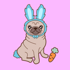Kawaii illustration of a cute little chubby pug dog in a tiny bunny costume. How adorable is this?