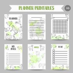 Butcher business organizer. Hand drawn farm animals planner. Farming illustration. Vector farm elements. Hand sketched goose, rooster, chicken