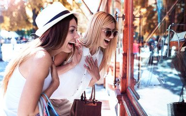 Shopping time. Young women shopping together. Consumerism, shopping, lifestyle
