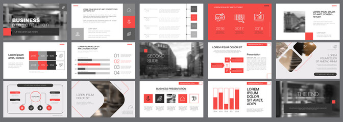 Template of red and grey slides for presentation