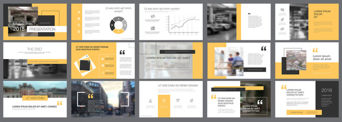 Template of white, black and yellow slides for presentation Wall mural