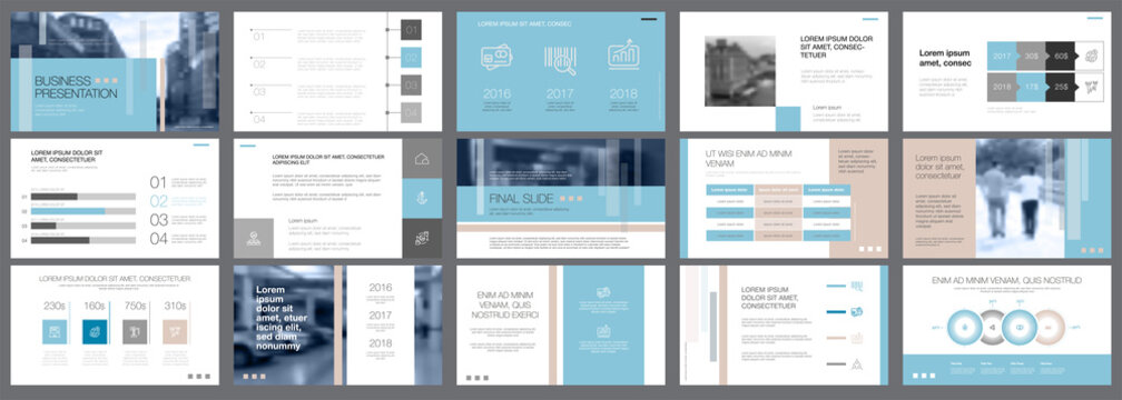 Template of white, blue and grey slides for presentation