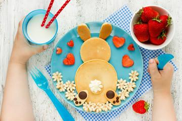 Bunny pancakes for kids breakfast