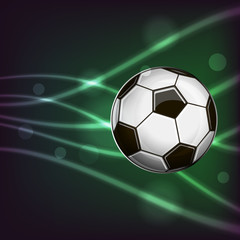 Illustration of soccer ball on abstract background