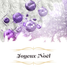 border against christmas tree with purple decorations