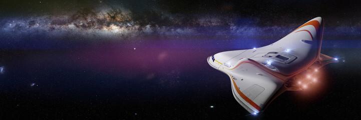 futuristic spaceship in flying towards the Milky Way galaxy