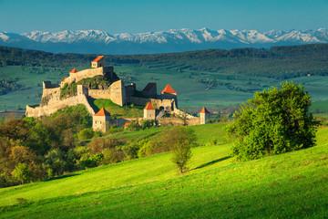 Fantastic medieval fortress in Rupea, Brasov region, Transylvania, Romania, Europe