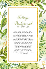 Hand drawn watercolor floral and polygonal frame template for card, poster, banner, wedding invitation. Leaves, flowers and golden geometric design