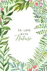 Hand drawn watercolor floral and polygonal frame template for card, poster, banner, wedding invitation. Leaves and flowers