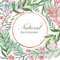 Hand drawn watercolor florals with golden elements. Frame design with leaves, plants, flowers and geometric elements, watercolor paper background. Card template for wedding invitation