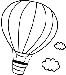 Black and White Hot Hair Balloon Vector illustration
