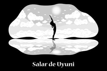 Illustration with Bolivia landmark - Salar de Uyuni.