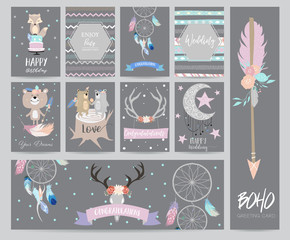 cute cards for banners,Flyers,Placards with feather,bear,wild,moon,star,arrow,cake and fox