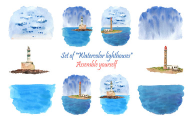 Watercolor lighthouse. An interesting puzzle.