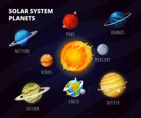 Solar system with cartoon planets on orbit around Sun.