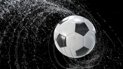 Soccer ball flies emitting whirl of water drops, 3d illustration