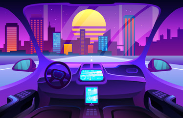 Futuristic Automobile salon or driverless car interior. Autinomous smart car interior.