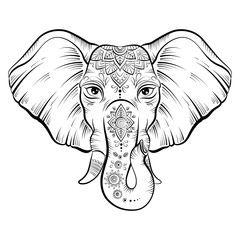 Vector african elephant in sketch style.