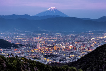 Kofu city and Mt.Fuji at twilight