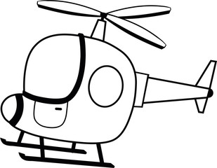 Black and White Helicopter Vector Illustration