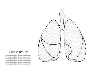 human lungs, polygon, black-white