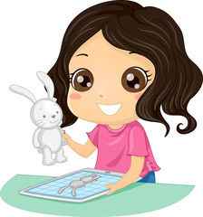 Kid Girl Printing 3D Illustration