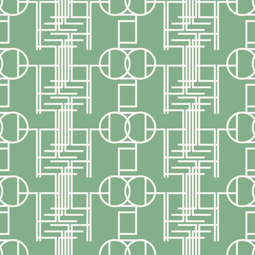 Seamless mint green pattern of multiple bent lines and circles