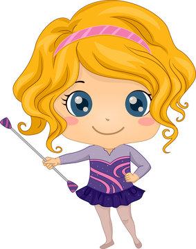 Kid Girl Baton Twirler Illustration