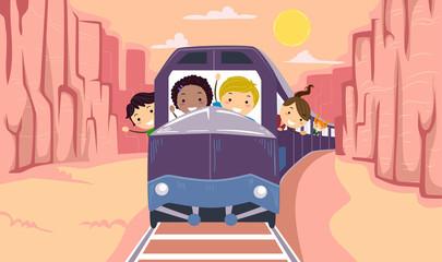 Stickman Kids Canyon Tour Train Illustration