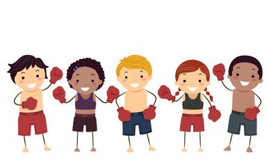 Stickman Kids Muay Thai Illustration