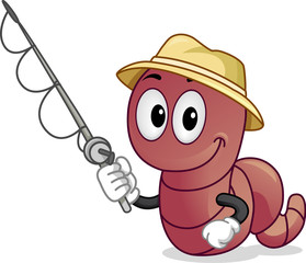 Mascot Worm Fishing Illustration