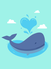 Whale Marine Love Charity Illustration