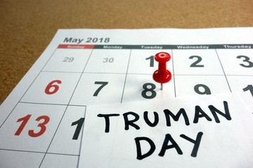 Truman Day date marked on 2018 calendar