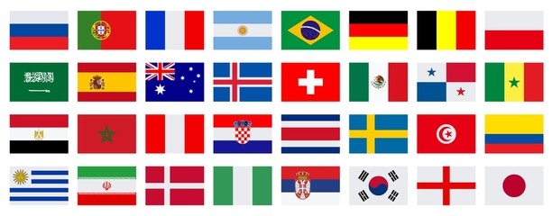 Football. 2018. Flags of participating teams