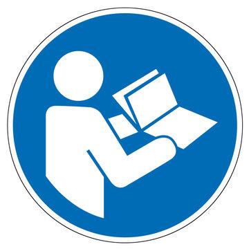Gebotsschild M002 Anleitung beachten nach DIN EN ISO 7010