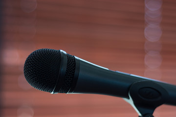 Microphone ready on stand, all set for concert to begin