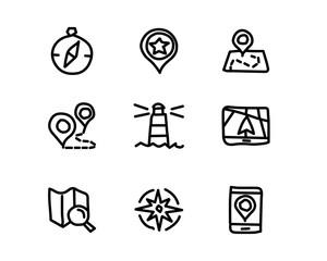 navigation hand drawn icon set design illustration, hand drawn style design, designed web and app