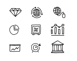 business hand drawn icon set design illustration, hand drawn style design, designed web and app